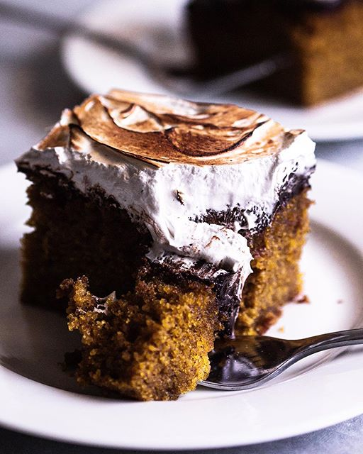 Pumpkin Olive Oil Cake With Toasted Vanilla Meringue Topping