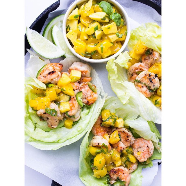 Spicy Coconut Shrimp Lettuce Bowls With Mango And Basil Salsa