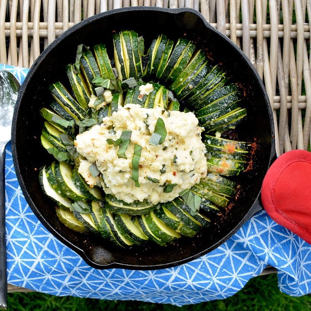 Grilled Hasselback Zucchini With Ricotta, Sage & Basil