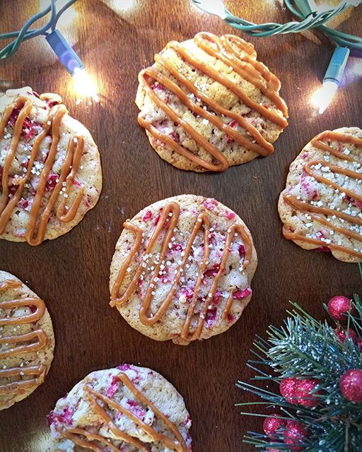 Roasted cranberry cookies with toasted pecans and a caramelized white chocolate drizzle. Bring in…