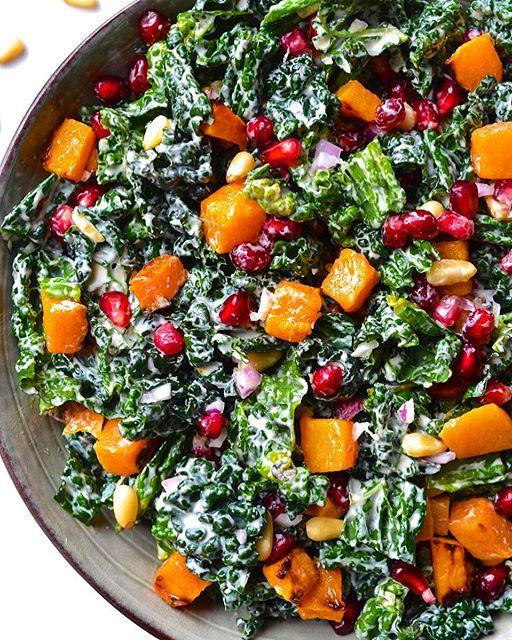 Butternut Squash And Pomegranate Kale Salad