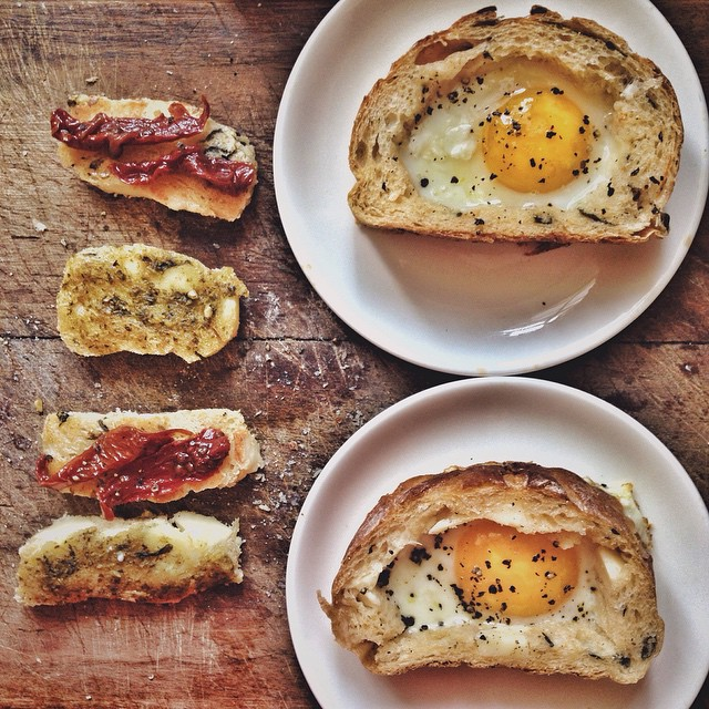 Egg-in-a-hole With Sun-dried Tomato And Pesto