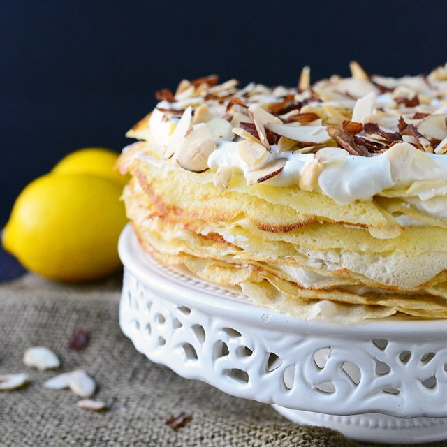 Stacked Crepes With Meyer Lemon Ricotta & Limoncello Whipped Cream