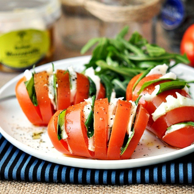 Hasselback Caprese Salad With Basil & Mozzarella