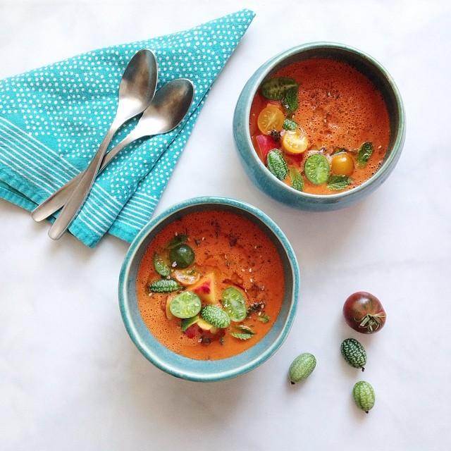 Peach & Tomato Gazpacho With Shallot & Tarragon