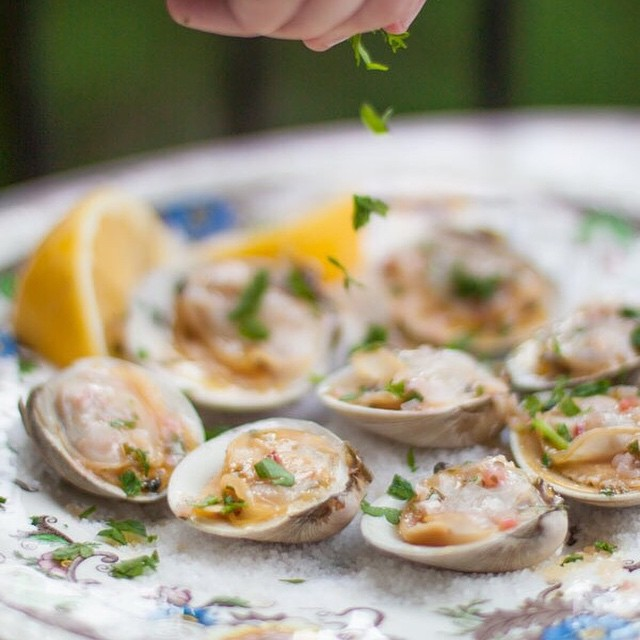 Grilled Littleneck Clams With Ramp Butter
