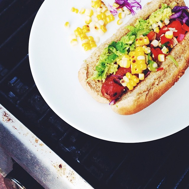Spicy Hot Dogs With Grilled Corn Salsa