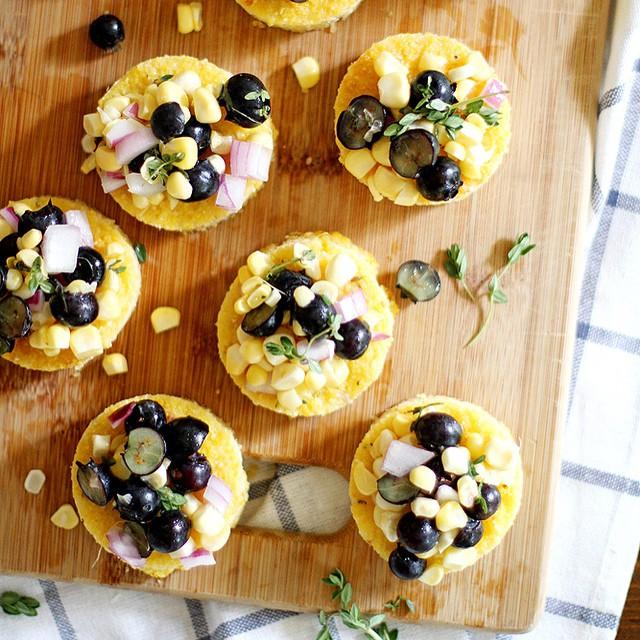 Parmesan Polenta Bites With Blueberry Corn Relish