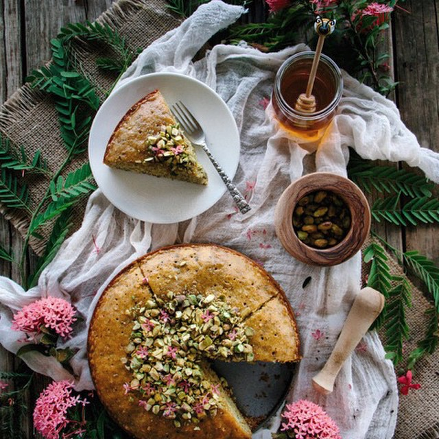 Lemon Glazed Semolina Cake With Pistachios And Honey