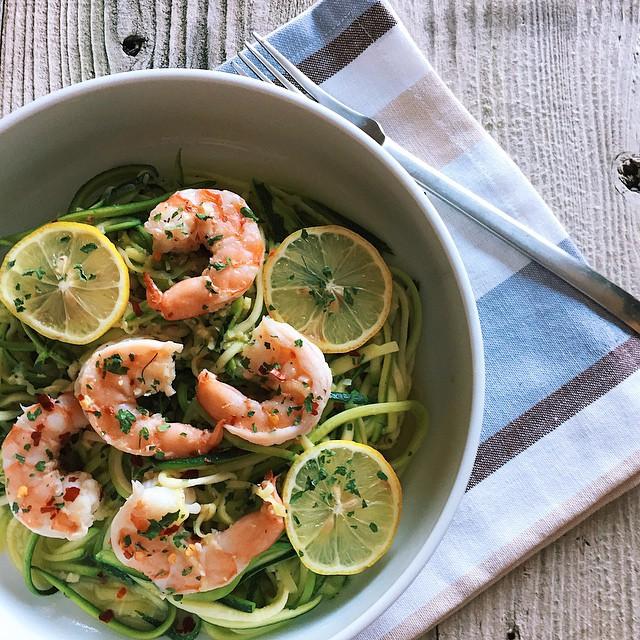 Zucchini Noodle Shrimp Scampi With Parsley, Lemon & Chilli Flakes