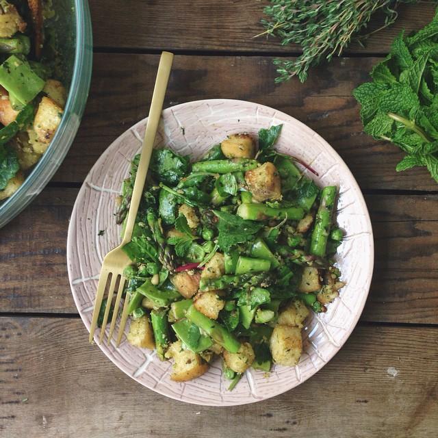 Springtime Vegetable Panzanella With Fresh Herb Pesto