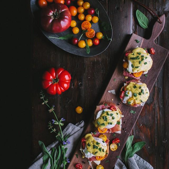 Eggs Benedict With Manchengo, Prosciutto, Tomatoes, & Sage Hollandaise Sauce