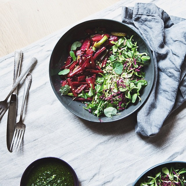 Grain & Sprout Bowl With Sautéed Chard Stems