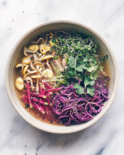 Sweet Potato Noodle And Roasted Chicken Bone Broth