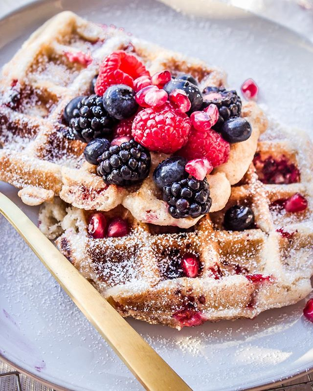 Champagne Waffles With Raspberries