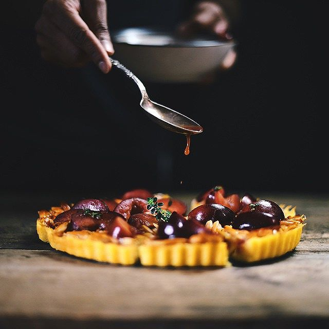 Polenta Tart With Sherried Plum Compote