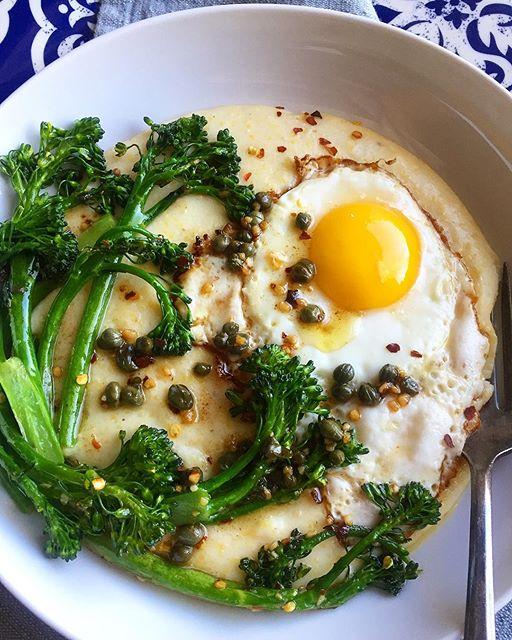 Creamy Polenta And Broccolini Bowl