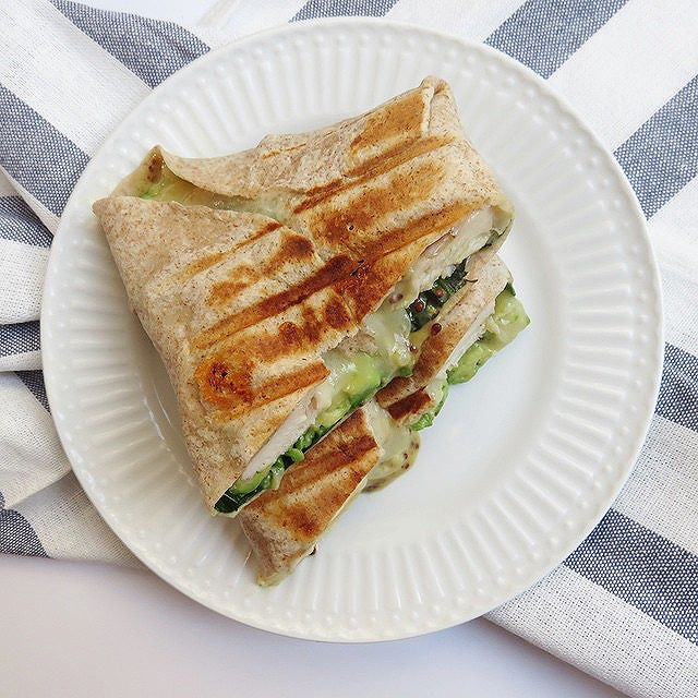 Panini Wrap With Grilled Chicken, Avocado, Pepper Jack, And Agave Mustard Sauce