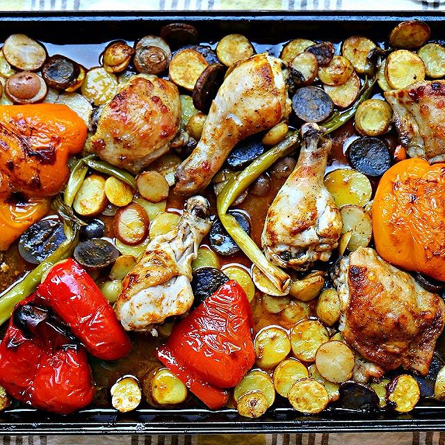 Sheet Pan Harissa Chicken With Potatoes And Vegetables