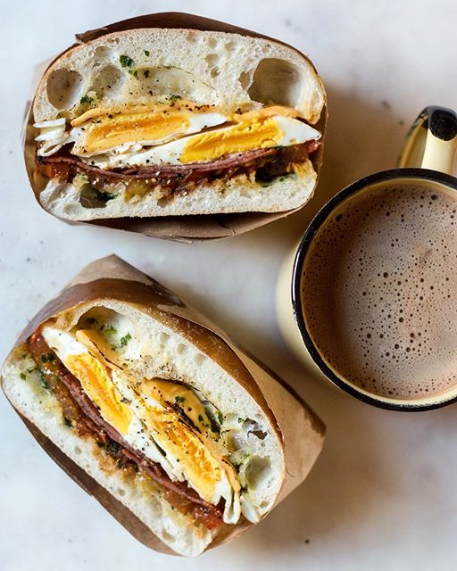 Slow Cooked Egg Sandwich With Herb Butter, Cheese And Salami