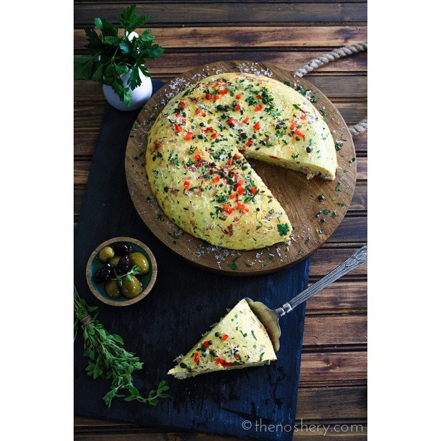 Tortilla Espanola With Spanish Chorizo & Manchego Cheese