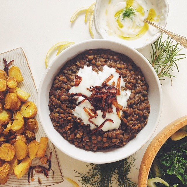 Balsamic Lentils With Caramelized Onion, Garlic & Lemon Fennel Yogurt