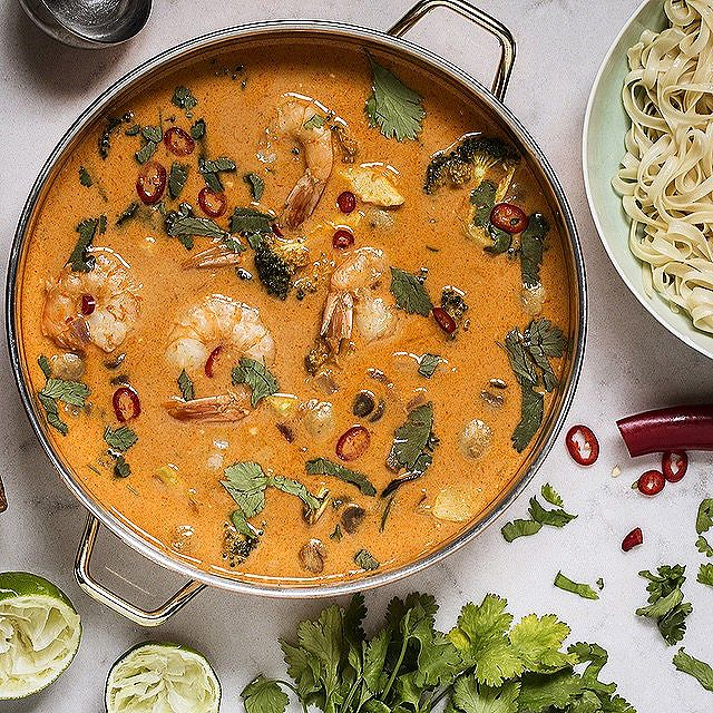 Thai Shrimp Coconut Soup In Red Curry
