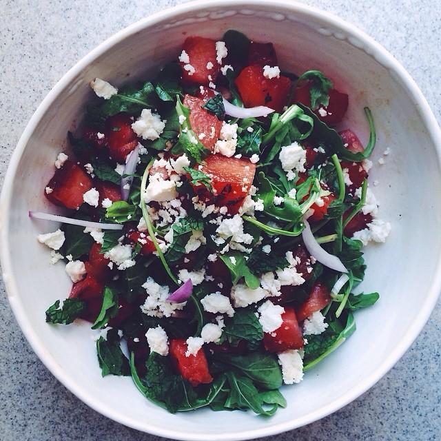 Grilled Watermelon & Arugula Salad With Ricotta Salata