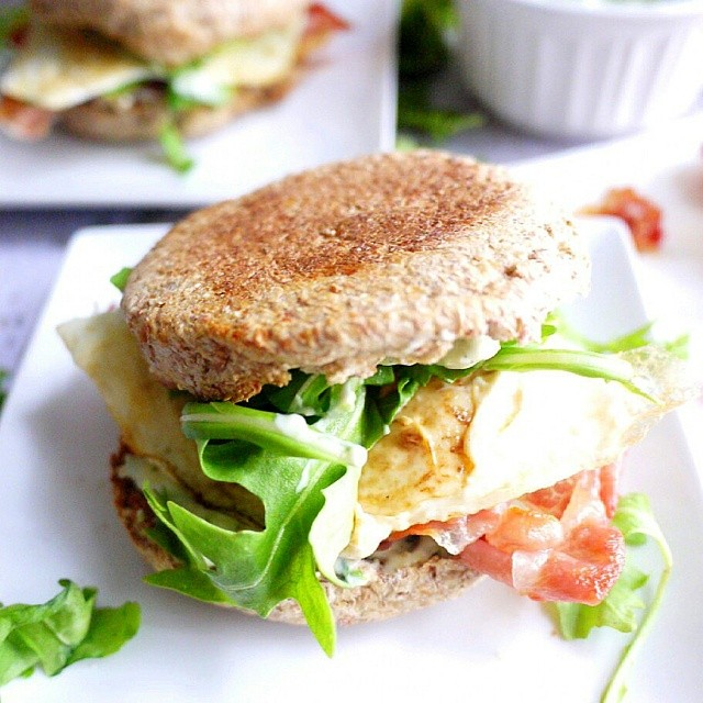 Crispy Prosciutto Egg Sandwich With Green Goddess Dressing Made From Low Fat Mayonnaise, Anchovy Paste, Lemon & Basil