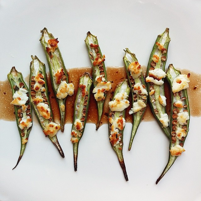 Grilled Okra With Goat Cheese & Balsamic Vinegar
