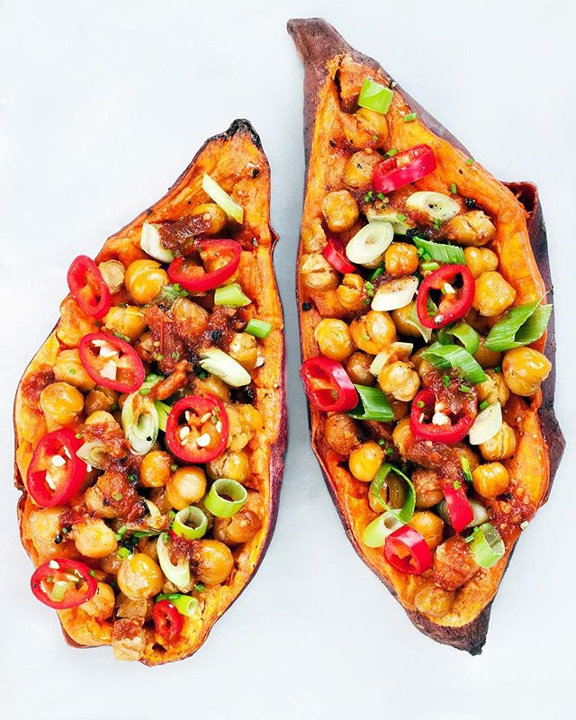 Sweet Potatoes Topped With Crispy Chickpeas