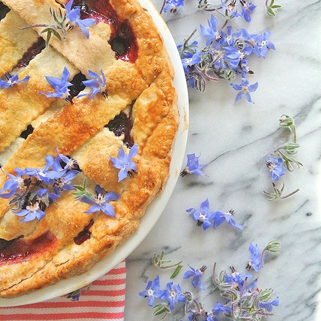 Olallieberry & Hibiscus Lattice Pie