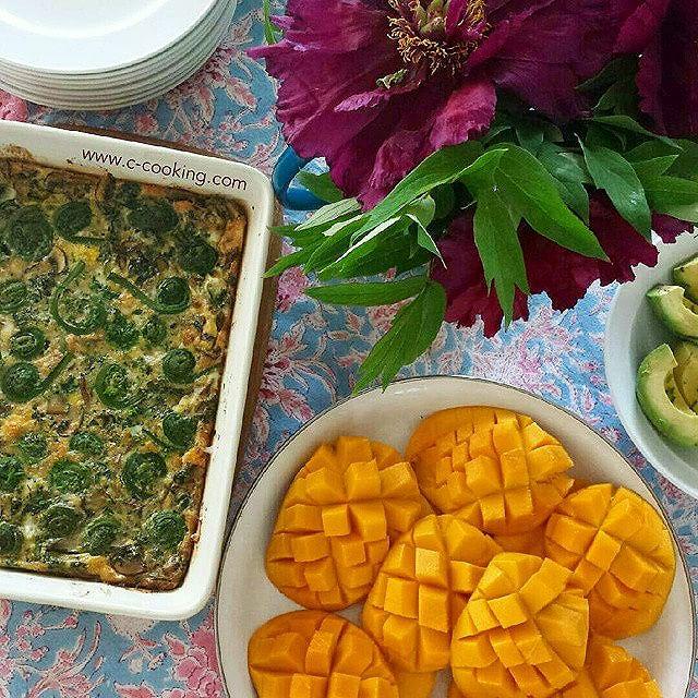 Fiddlehead Mushroom Kale Frittata, Mango, And Avocado