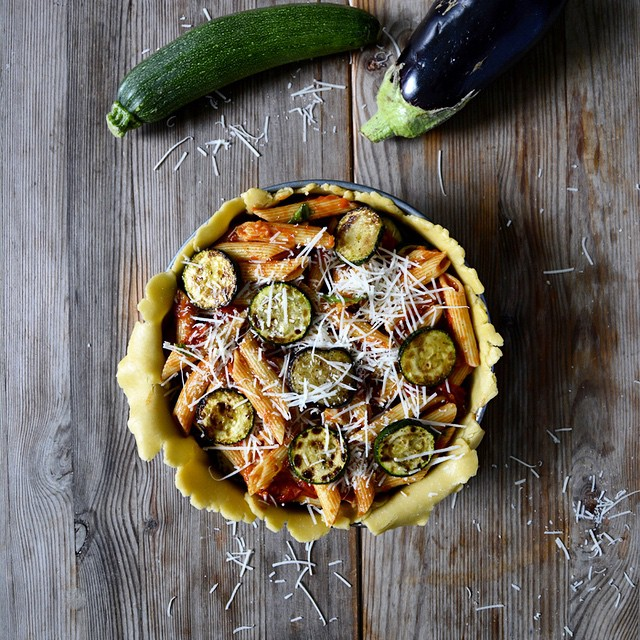 Zucchini & Aubergine Pasta Filled Pie