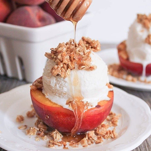 Grilled Peach Crisp Sundaes With Cinnamon-honey Drizzle
