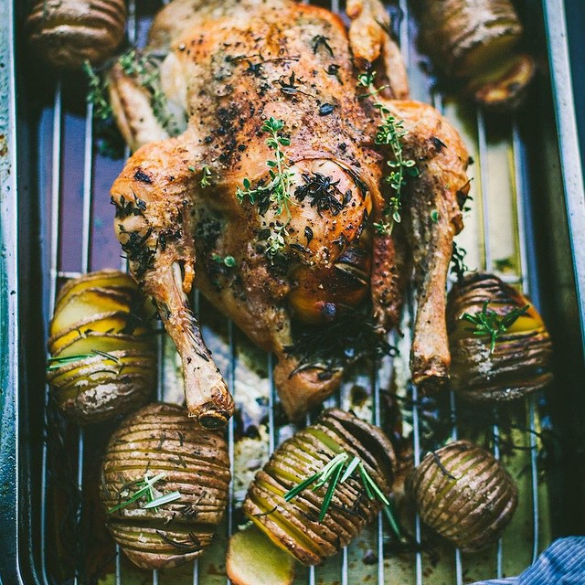 Thyme & Lemon Roasted Chicken With Hasselback Potatoes & Rosemary