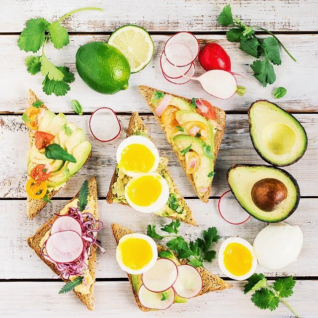 Butternut Squash Crème, Avocado, Radish, Purple Cabbage & Egg Toasts