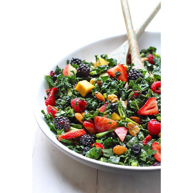 Kale Summer Salad With Stone Fruit And Berries
