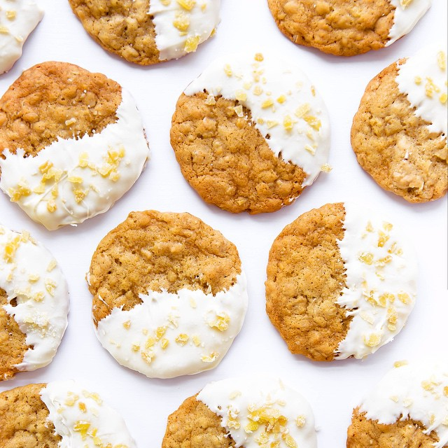 White Chocolate Dipped Ginger Oatmeal Cookies