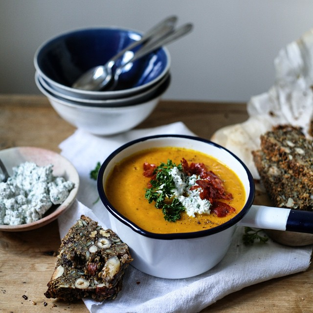 Roast Carrot And Chorizo Soup With Nut Seed Bread
