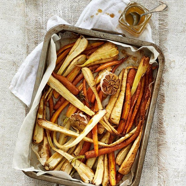 Roasted Carrot And Parsnip With Maple Syrup Glaze