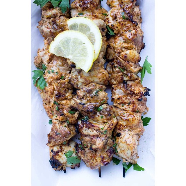 Yogurt Marinated Chicken Kebabs Spiced With Chilli & Cumin