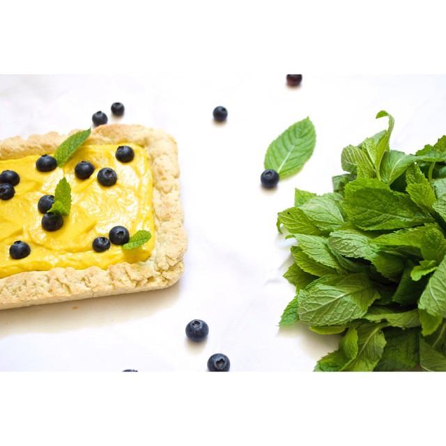 Mint White Chocolate & Mango Curd Blueberry Tart