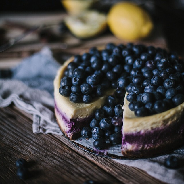 Lemon Blueberry Cheesecake With A Spiced Graham Cracker Crust