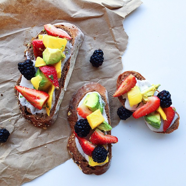 Fruit Salad Topped Toast