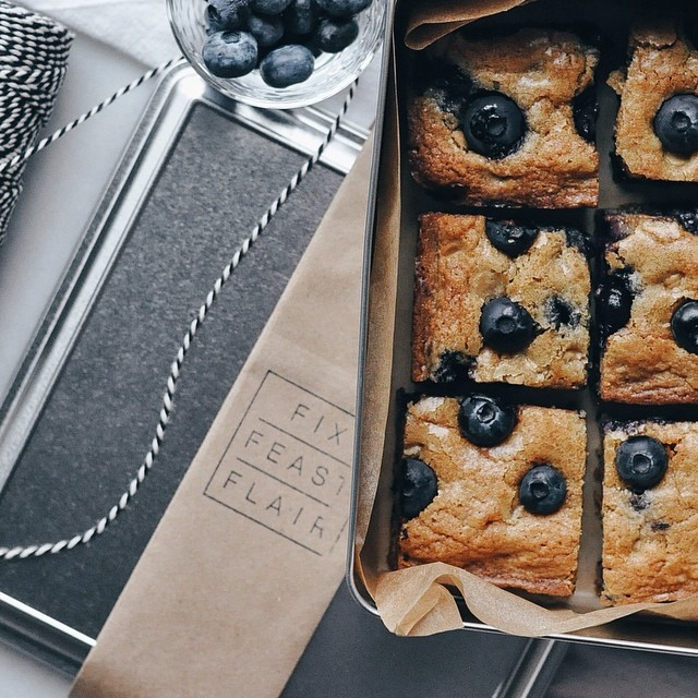 Peanut Butter And Blueberry Blondie Bars