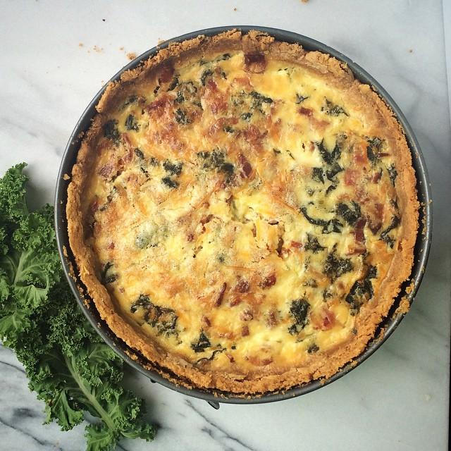 Basil Cracker Quiche Tart With Kale, Leek & Bacon Filling