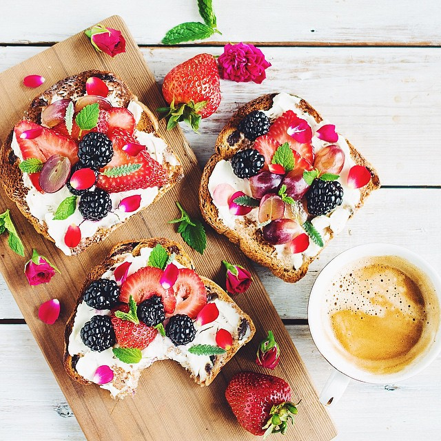 Cinnamon Raisin Toast With Cream Cheese, Berries, Red Grapes, Rose Petals, Lavender + Mint
