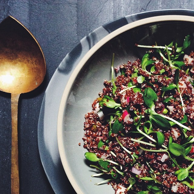 Red Quinoa, Radishes, Sunflower Microgreens & Pickled Garlic Scape Salad