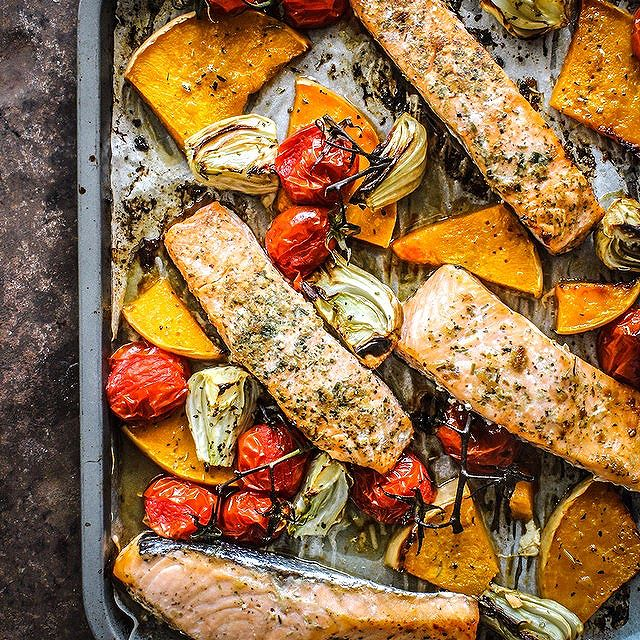 Roasted Maple Salmon With Pumpkin, Fennel And Tomatoes